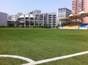 Fotbollsmatch på Luwan Stadium i Shanghai
